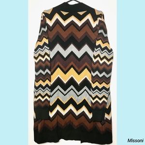 Missoni Sweaters - Missoni Brown Chevron Cardigan Zig Zag SWEATER
